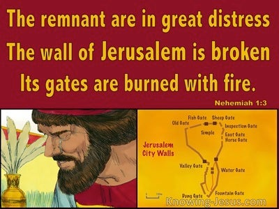 Nehemiah 1:3 The Remnant Are In Great Distress (red)